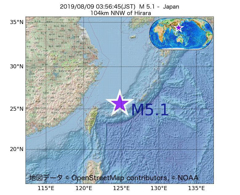 2019年08月09日 03時56分 - 日本でM5.1