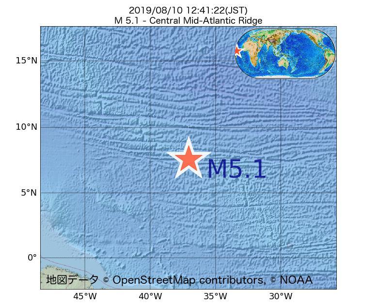 2019年08月10日 12時41分 - 大西洋中央海嶺でM5.1