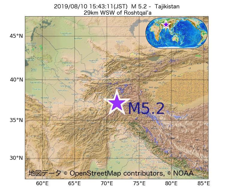 2019年08月10日 15時43分 - タジキスタンでM5.2