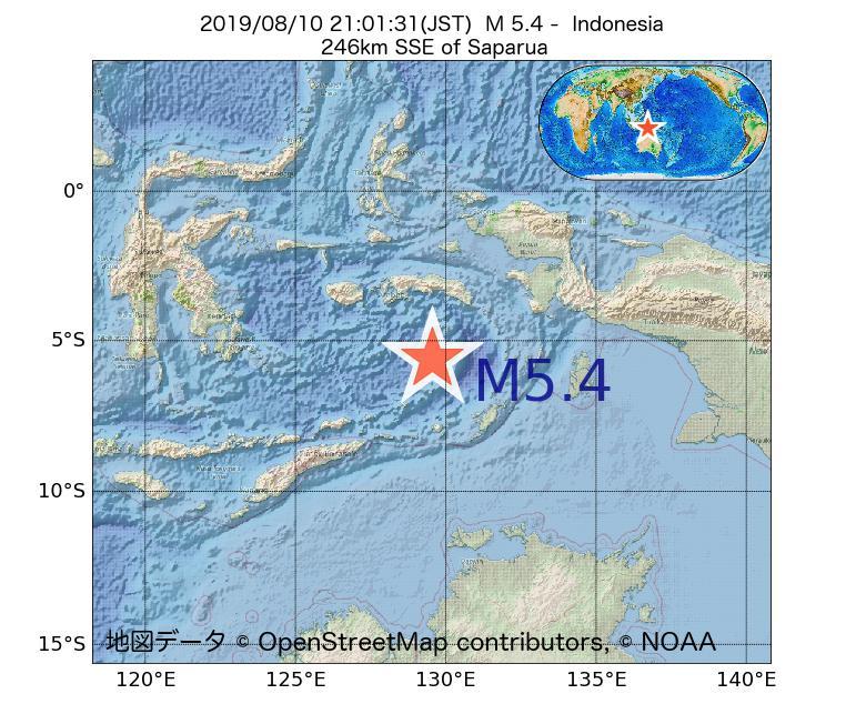 2019年08月10日 21時01分 - インドネシアでM5.4