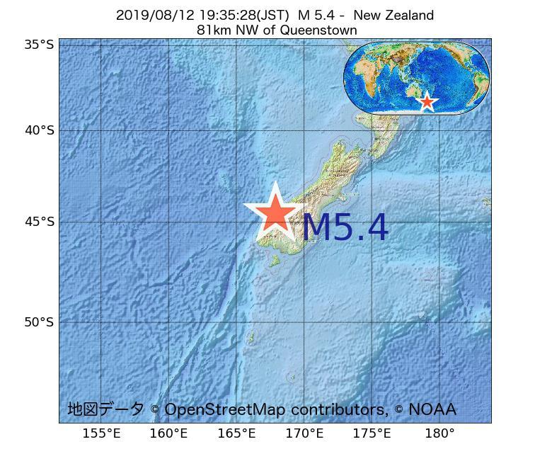 2019年08月12日 19時35分 - ニュージーランドでM5.4