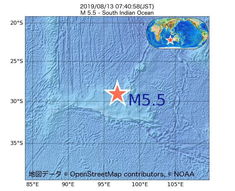 2019年08月13日 07時40分 - 南インド洋でM5.5