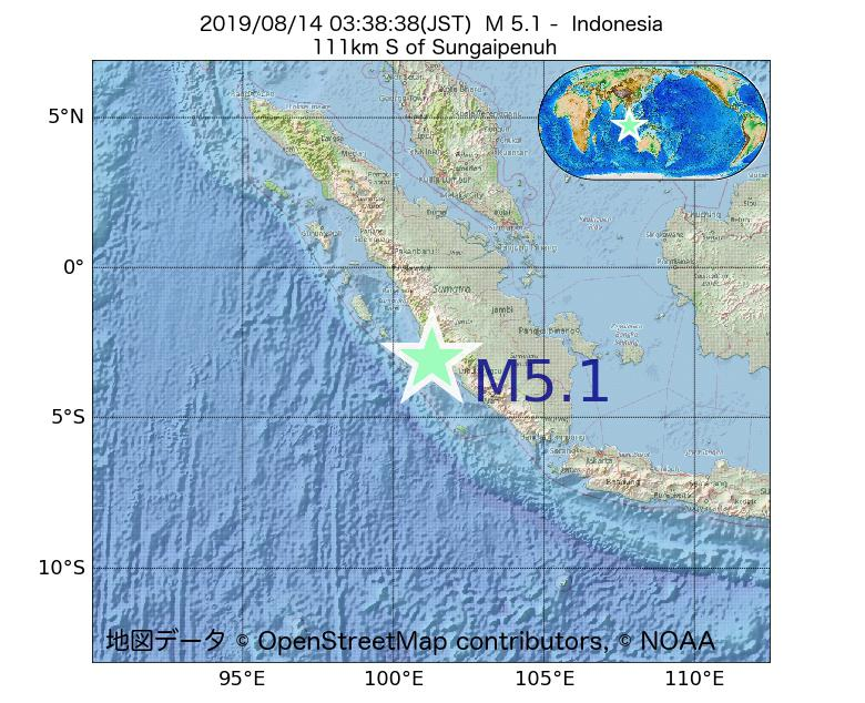 2019年08月14日 03時38分 - インドネシアでM5.1