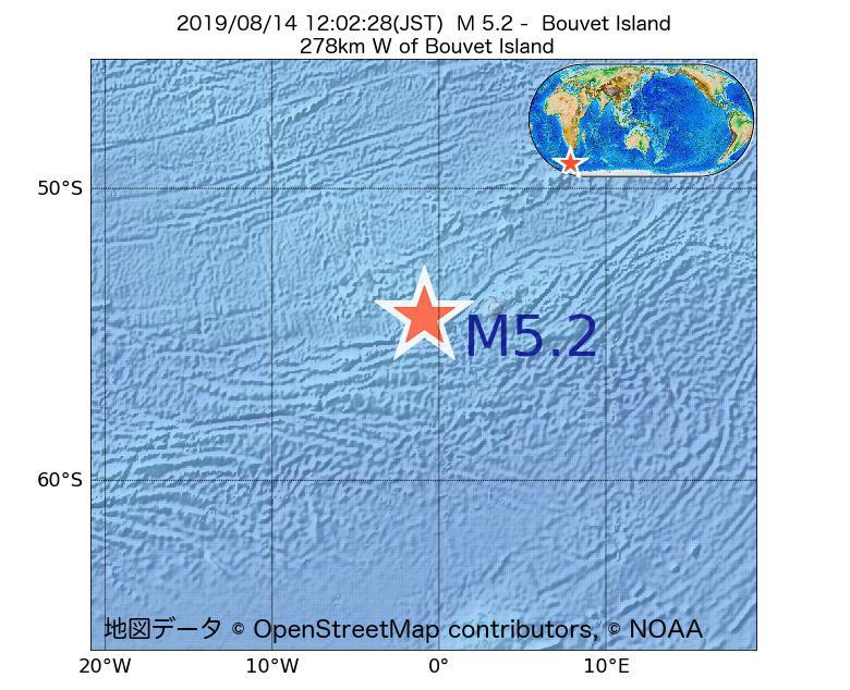 2019年08月14日 12時02分 - ブーベ島でM5.2