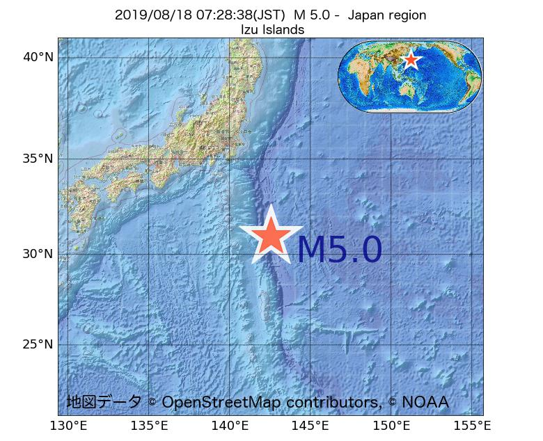 2019年08月18日 07時28分 - 日本周辺でM5.0