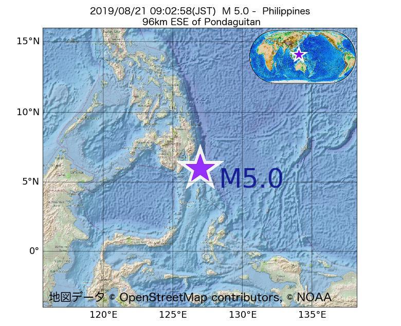 2019年08月21日 09時02分 - フィリピンでM5.0