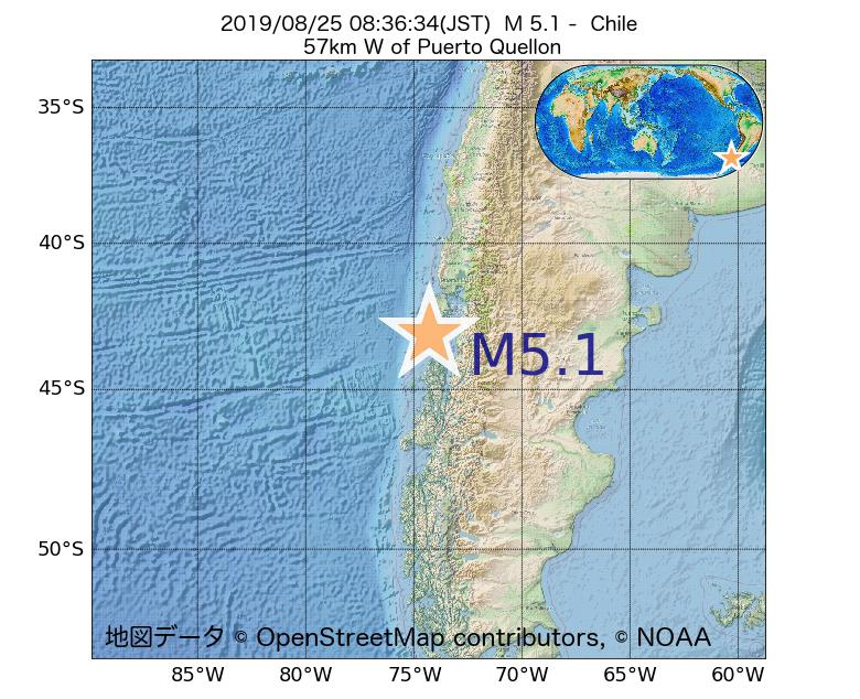 2019年08月25日 08時36分 - チリでM5.1