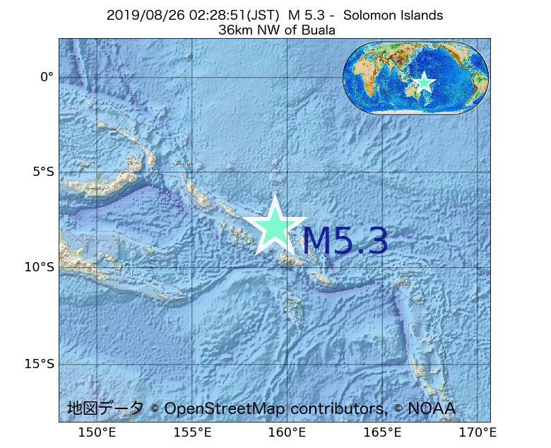 2019年08月26日 02時28分 - ソロモン諸島でM5.3