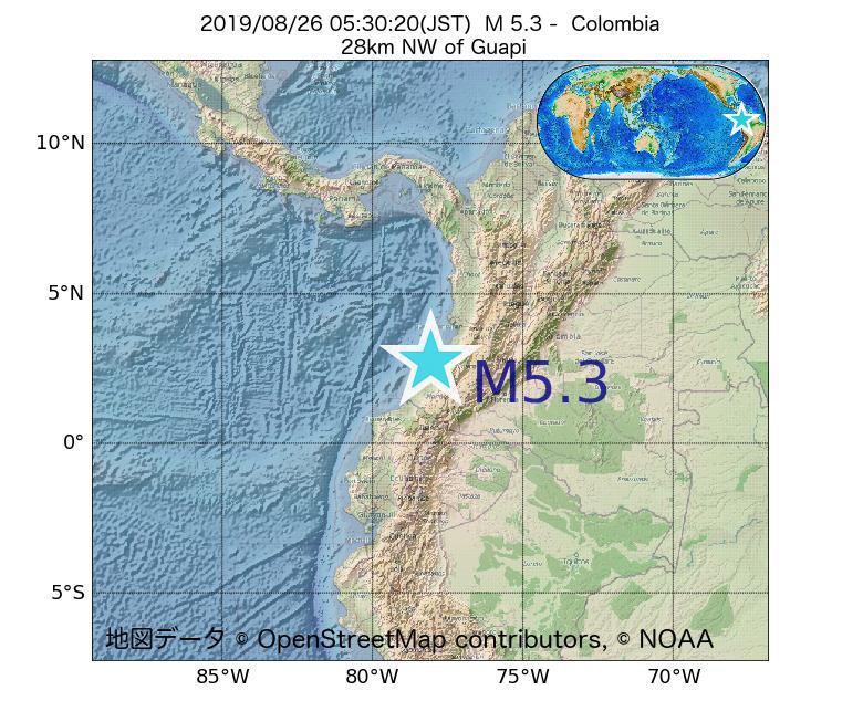 2019年08月26日 05時30分 - コロンビアでM5.3