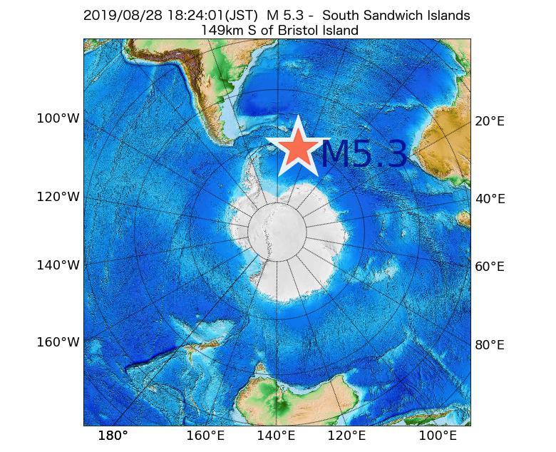 2019年08月28日 18時24分 - サウスサンドウィッチ諸島付近でM5.3