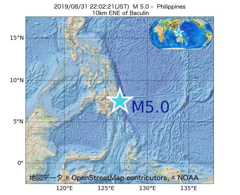 2019年08月31日 22時02分 - フィリピンでM5.0