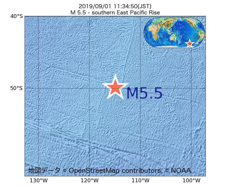 2019年09月01日 11時34分 - 東太平洋海嶺南方でM5.5