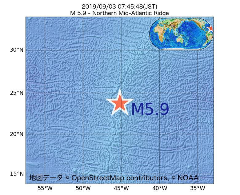 2019年09月03日 07時45分 - 大西洋中央海嶺北部でM5.9
