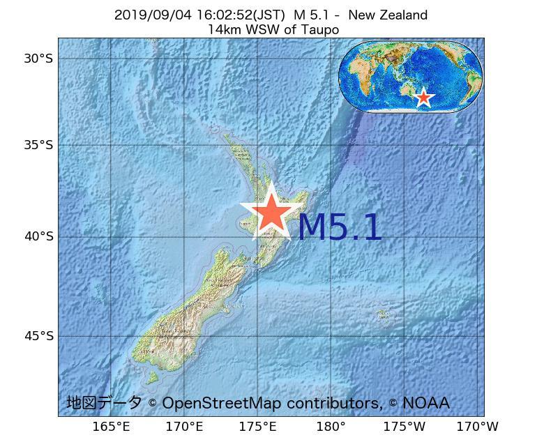 2019年09月04日 16時02分 - ニュージーランドでM5.1