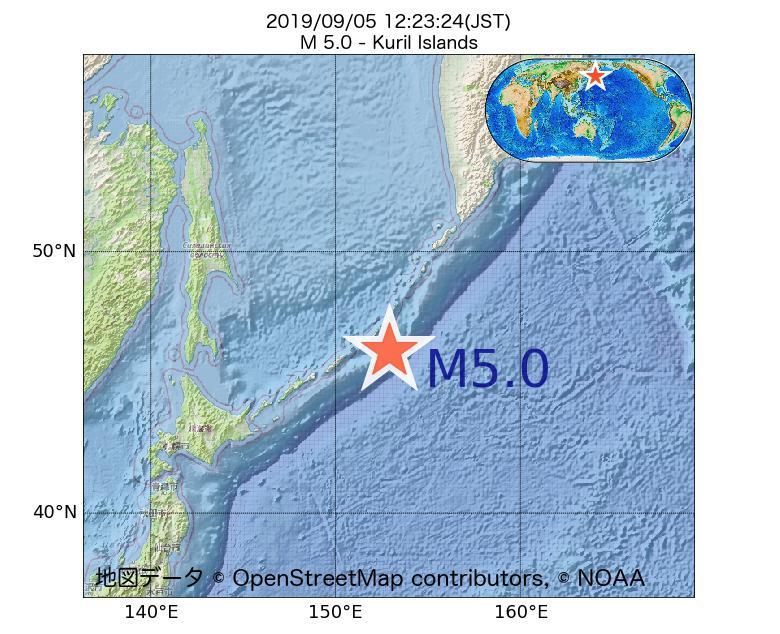 2019年09月05日 12時23分 - 千島列島でM5.0