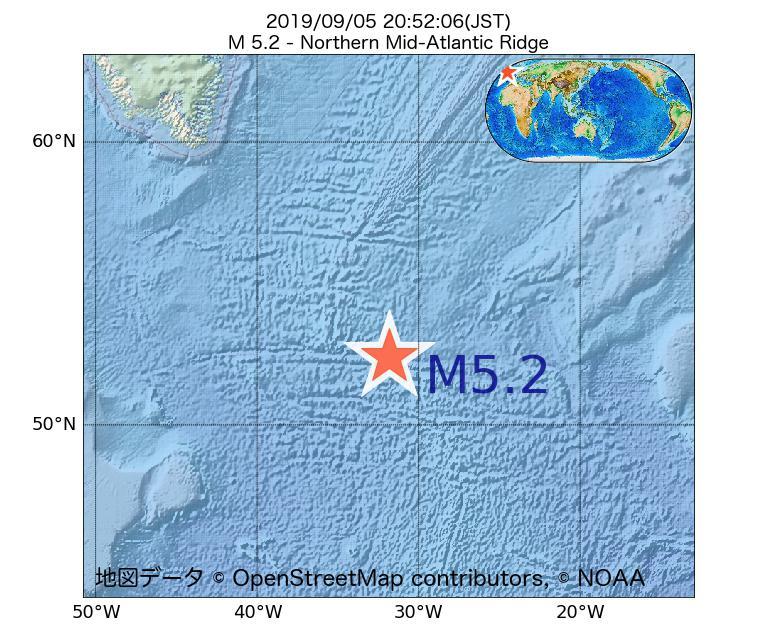2019年09月05日 20時52分 - 大西洋中央海嶺北部でM5.2