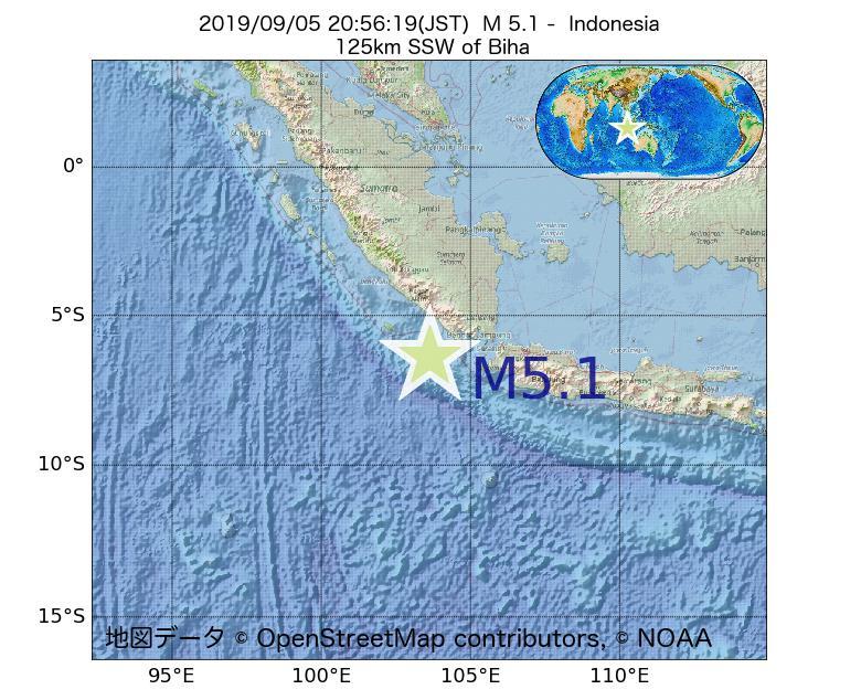 2019年09月05日 20時56分 - インドネシアでM5.1