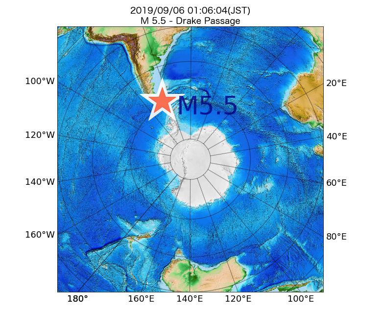 2019年09月06日 01時06分 - Drake PassageでM5.5