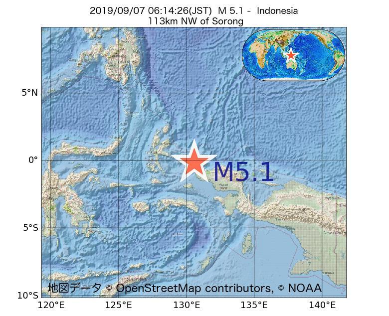 2019年09月07日 06時14分 - インドネシアでM5.1