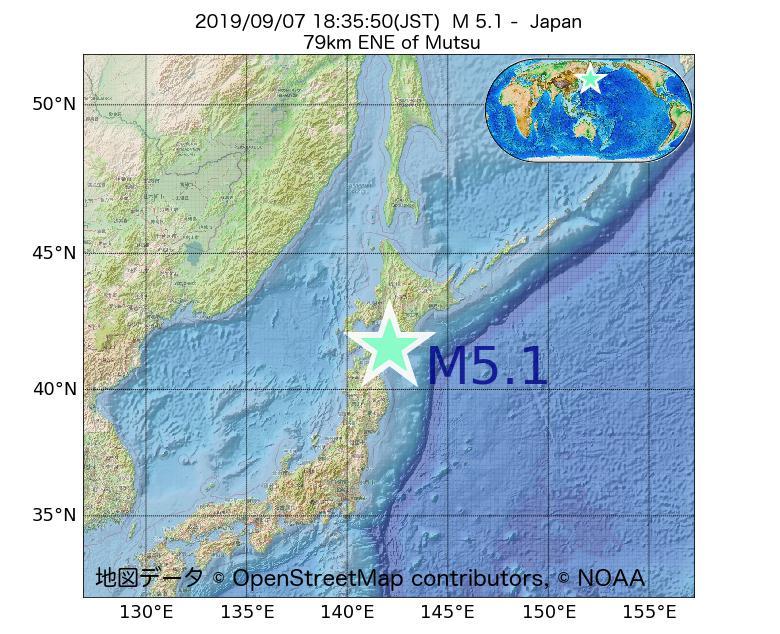 2019年09月07日 18時35分 - 日本でM5.1
