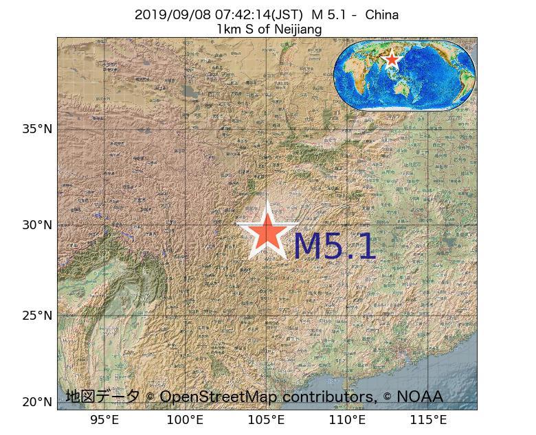 2019年09月08日 07時42分 - 中国でM5.1