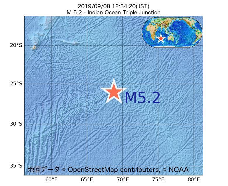 2019年09月08日 12時34分 - インド洋三重会合点でM5.2