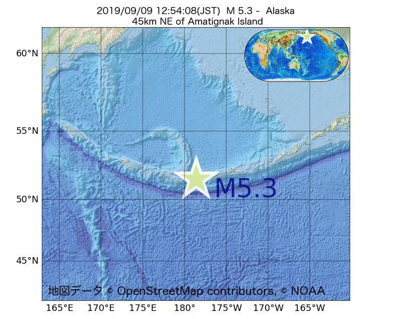 2019年09月09日 12時54分 - アラスカ州でM5.3