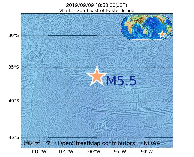 2019年09月09日 18時53分 - イースター島の南東でM5.5