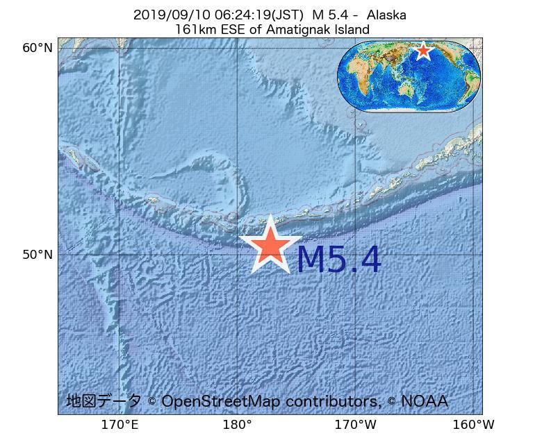 2019年09月10日 06時24分 - アラスカ州でM5.4