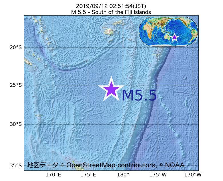 2019年09月12日 02時51分 - フィジー諸島の南でM5.5