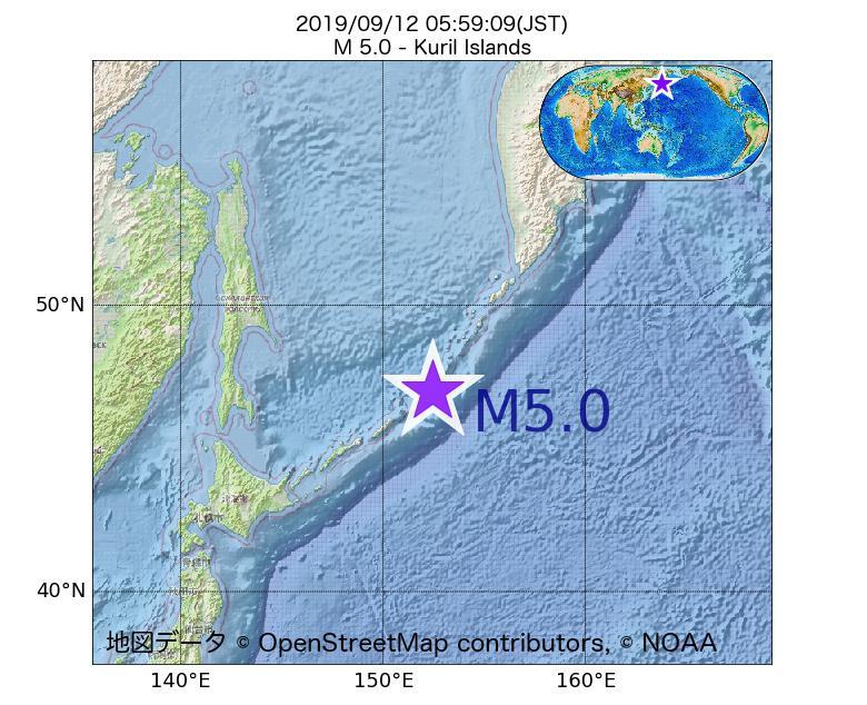 2019年09月12日 05時59分 - 千島列島でM5.0