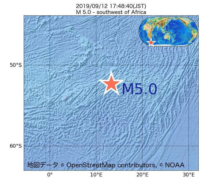 2019年09月12日 17時48分 - アフリカの南西でM5.0