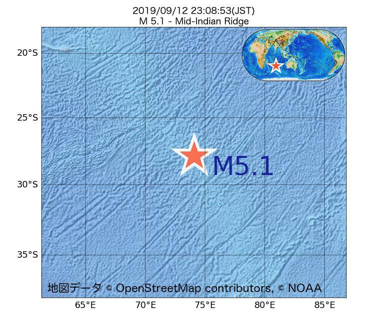 2019年09月12日 23時08分 - インド洋中央海嶺でM5.1