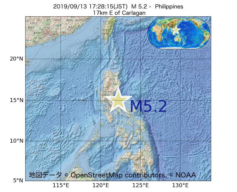 2019年09月13日 17時28分 - フィリピンでM5.2