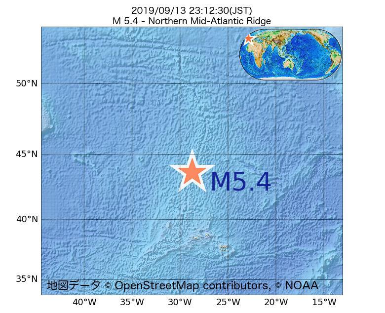 2019年09月13日 23時12分 - 大西洋中央海嶺北部でM5.4