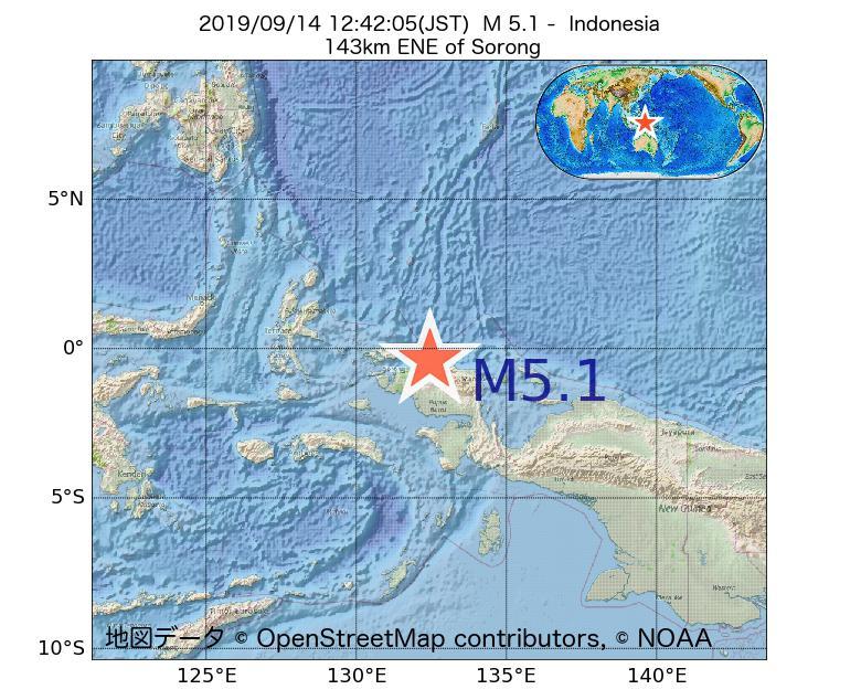 2019年09月14日 12時42分 - インドネシアでM5.1
