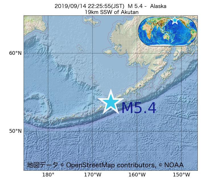 2019年09月14日 22時25分 - アラスカ州でM5.4