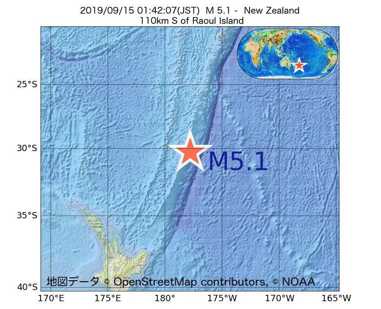 2019年09月15日 01時42分 - ニュージーランドでM5.1