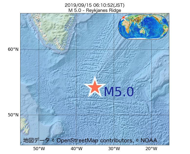 2019年09月15日 06時10分 - レイキャネス海嶺でM5.0