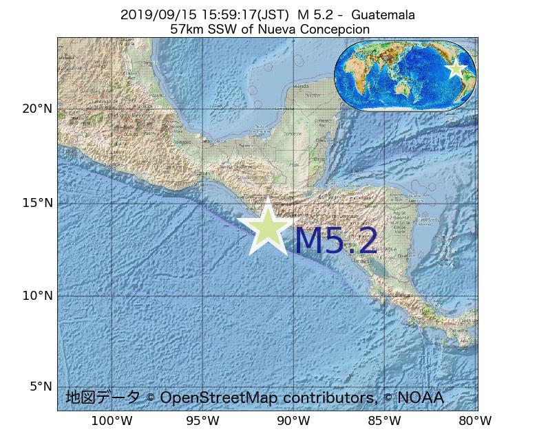 2019年09月15日 15時59分 - グアテマラでM5.2