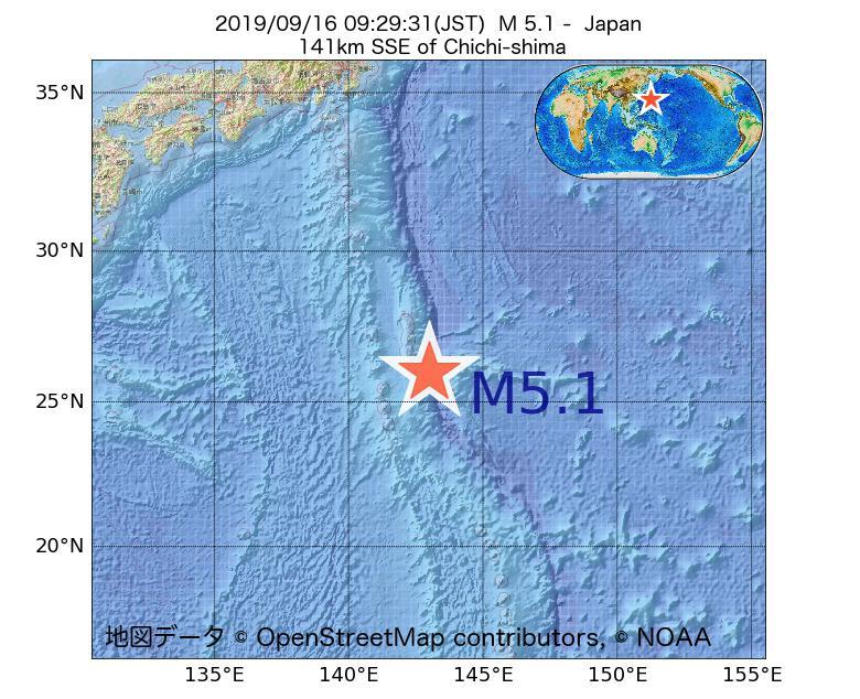 2019年09月16日 09時29分 - 日本でM5.1