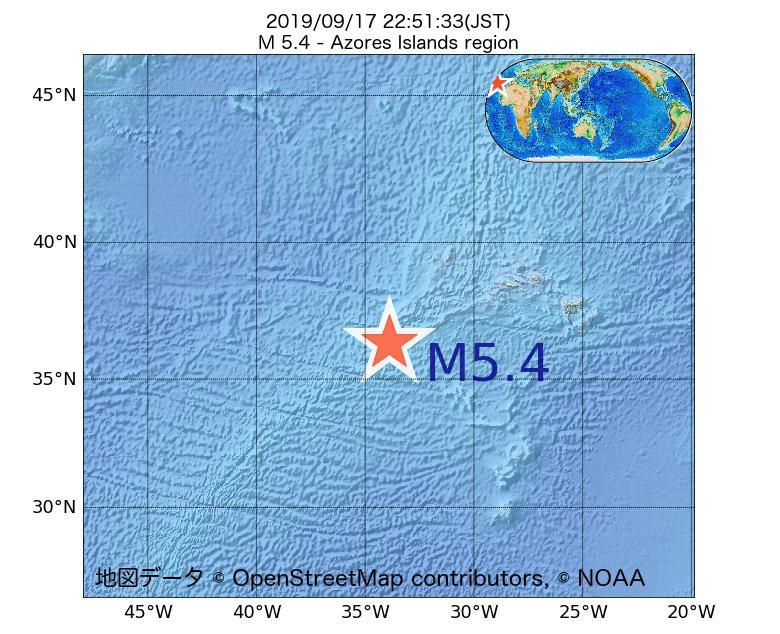 2019年09月17日 22時51分 - アゾレス諸島海域でM5.4