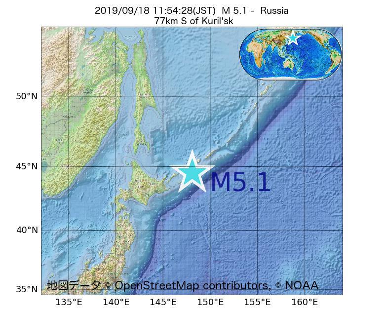 2019年09月18日 11時54分 - ロシアでM5.1