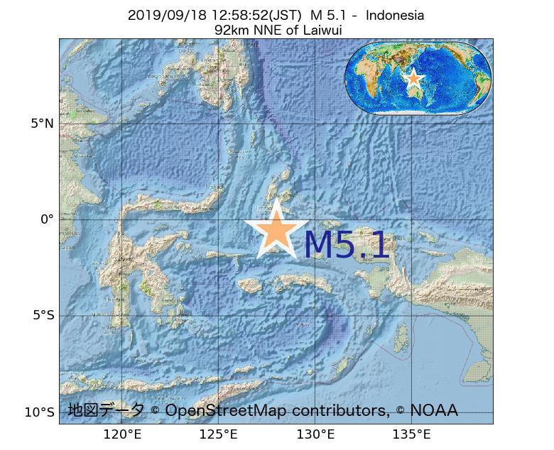 2019年09月18日 12時58分 - インドネシアでM5.1