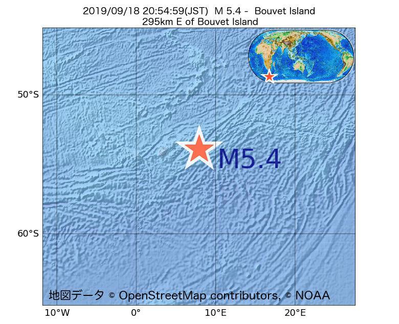 2019年09月18日 20時54分 - ブーベ島でM5.4