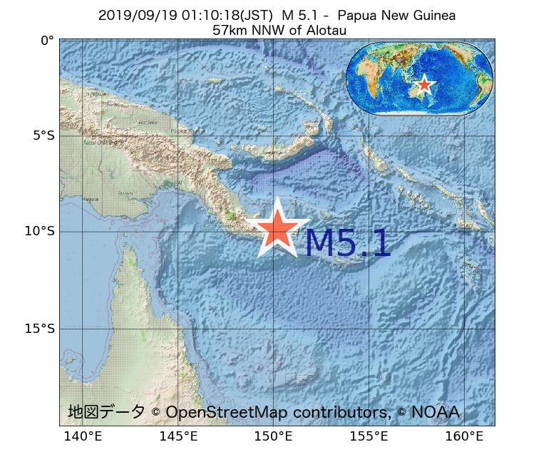 2019年09月19日 01時10分 - パプアニューギニアでM5.1