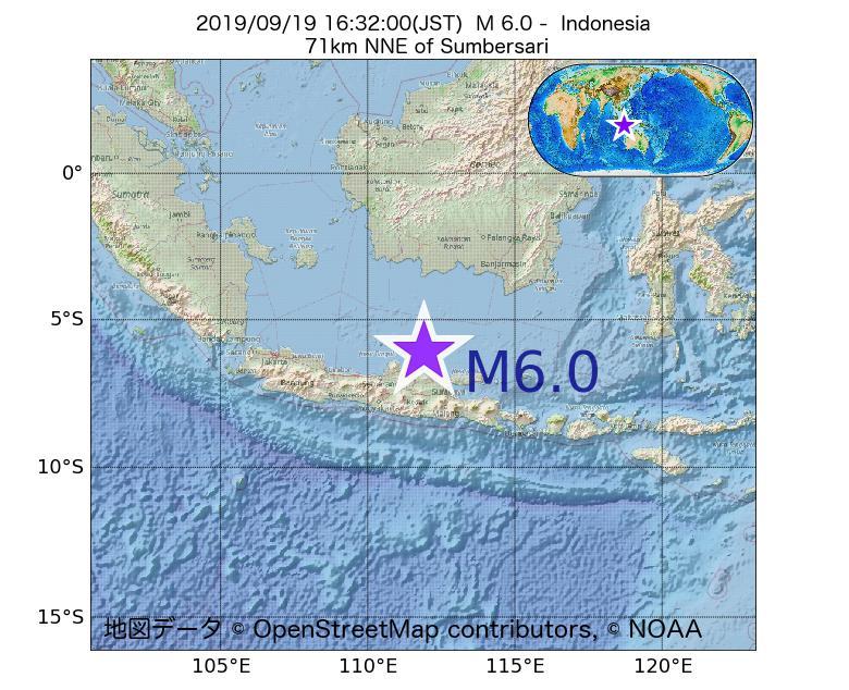 2019年09月19日 16時32分 - インドネシアでM6.0