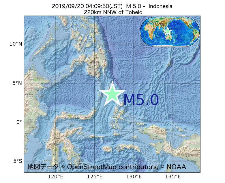 2019年09月20日 04時09分 - インドネシアでM5.0