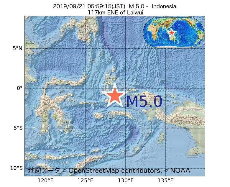 2019年09月21日 05時59分 - インドネシアでM5.0