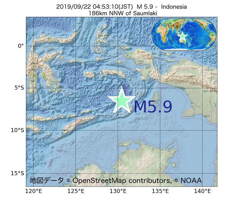 2019年09月22日 04時53分 - インドネシアでM5.9